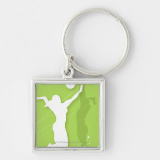 Silhouette of two women playing volleyball Silver-Colored square keychain