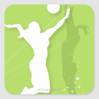 Silhouette of two women playing volleyball square stickers