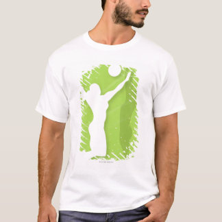 Silhouette of two women playing volleyball T-Shirt