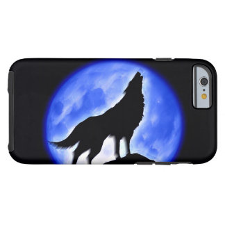 Silhouette of Wolf Howling at Moon in Blue Night Tough iPhone 6 Case