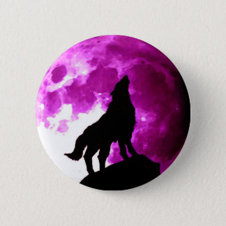 Silhouette of Wolf Howling at Moon Pinback Button