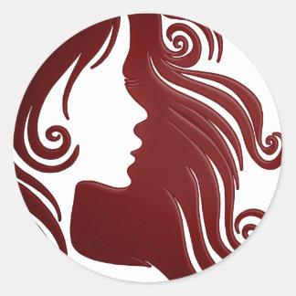 Silhouette of Woman (Dark Reddish Background) Classic Round Sticker