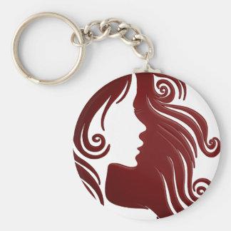 Silhouette of Woman (Dark Reddish Background) Keychain