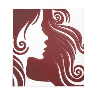 Silhouette of Woman (Dark Reddish Background) Notepad