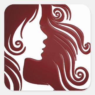 Silhouette of Woman (Dark Reddish Background) Square Sticker