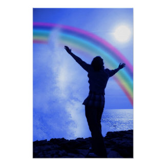silhouette of woman with outstretched arms in awe poster