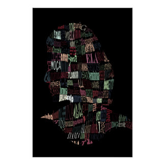Silhouette of words poster