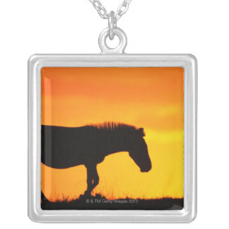 Silhouette of zebra on savanna silver plated necklace