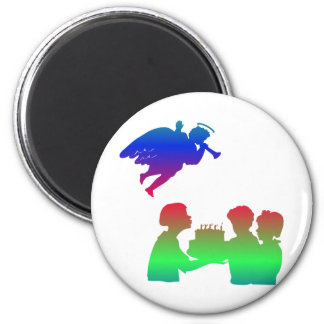 Silhouette ofAngel with Children at birthday party 2 Inch Round Magnet
