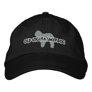 Silhouette Old English Sheepdog Embroidered Baseball Cap