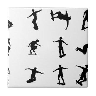 Silhouette outlines of skating skateboarders ceramic tiles