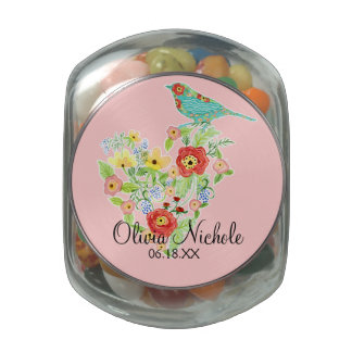 Silhouette Patterned Bird w Floral Heart Baby Girl Jelly Belly Candy Jar