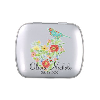 Silhouette Patterned Bird w Floral Heart Baby Girl Jelly Belly Tin