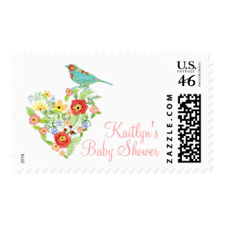Silhouette Patterned Bird w Floral Heart Baby Girl Postage Stamps