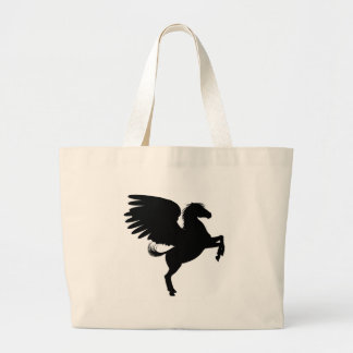 Silhouette Pegasus on Two Legs Large Tote Bag