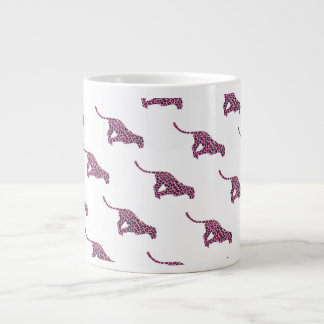 Silhouette Pink and Black Leopard Giant Coffee Mug