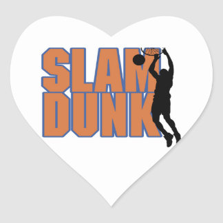 Silhouette Player Slam Dunk Tshirts and Gifts Heart Sticker