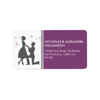 Silhouette Proposal Return Address Labels (purple)