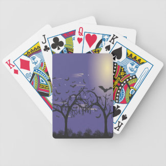 Silhouette Raven and bats Bicycle Playing Cards