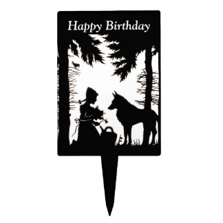 Silhouette Red Riding Hood Wolf Woods Birthday Cake Topper