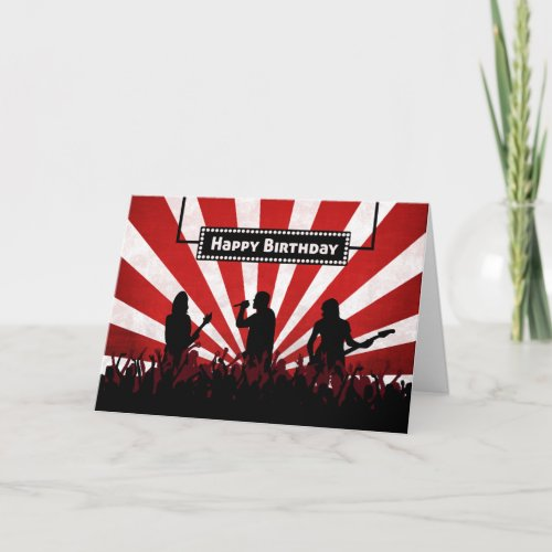 Silhouette Rock Concert w Sunburst Birthday Card