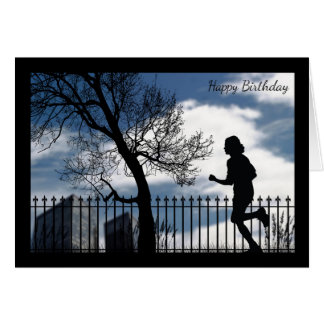 Silhouette Runner in the City Birthday Card