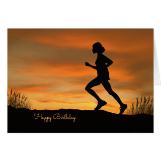 Silhouette Runner with a Sunset Birthday Card