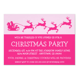 Silhouette Santa's Sleigh Invitations (Hot Pink)