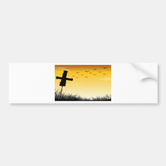 Silhouette scarecrow car bumper sticker