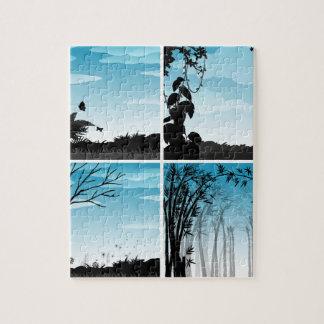 Silhouette scene of nature puzzle