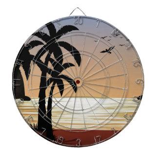 Silhouette scene of the beach dart boards