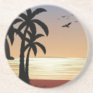Silhouette scene of the beach drink coaster