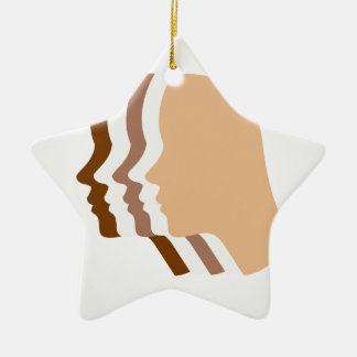 Silhouette showing tanning of skin ceramic ornament