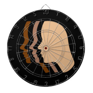 Silhouette showing tanning of skin dartboards