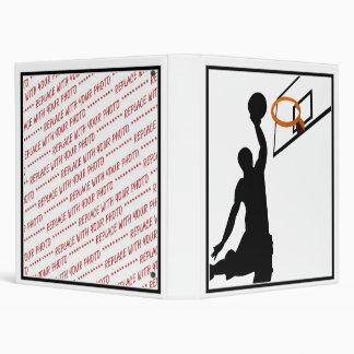 Silhouette Slam Dunk Basketball Player 3 Ring Binder