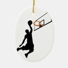 Silhouette Slam Dunk Basketball Player Ceramic Ornament