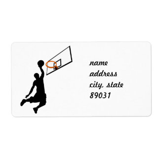 Silhouette Slam Dunk Basketball Player Personalized Shipping Labels