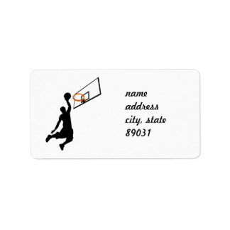Silhouette Slam Dunk Basketball Player Personalized Address Labels