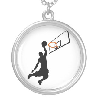 Silhouette Slam Dunk Basketball Player Silver Plated Necklace