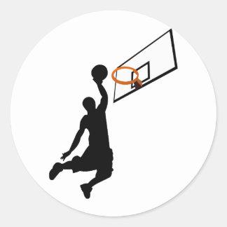 Silhouette Slam Dunk Basketball Player Classic Round Sticker