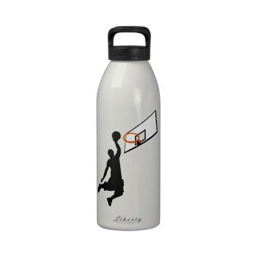 Silhouette Slam Dunk Basketball Player Reusable Water Bottle