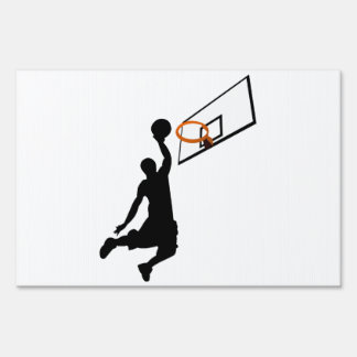 Silhouette Slam Dunk Basketball Player Lawn Signs