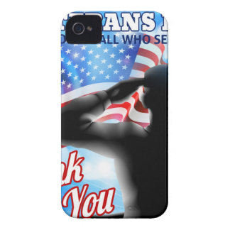 Silhouette Soldier Saluting American Flag Veterans iPhone 4 Case-Mate Case
