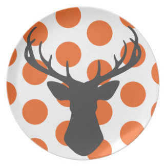 Silhouette Stag Head Dinner Plate