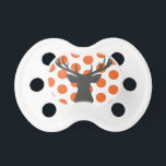 """Silhouette Stag Head Pacifier<br><div class=""""desc"""">Silhouette Stag Head grey and orange dot pattern. Click &quot;customize it&quot; to modify the design.</div>"""
