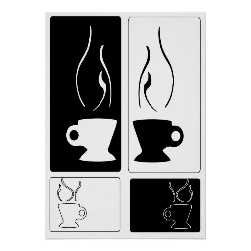 Silhouette Steaming Cups Poster