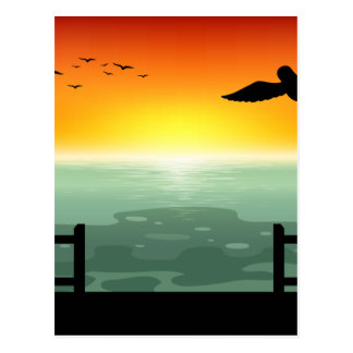 Silhouette Sunset Postcard
