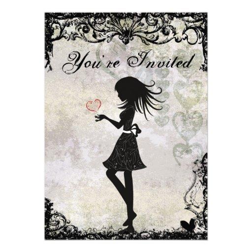 Silhouette Teen Girl And Heart Birthday Invitation 33