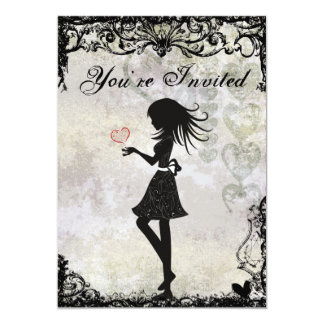 Silhouette Teen Girl and Hearts Birthday Party 5x7 Paper Invitation Card