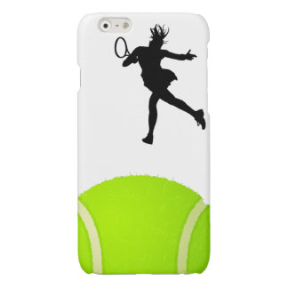 Silhouette Tennis Player Glossy iPhone 6 Case